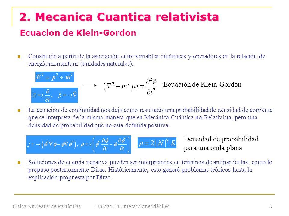 Unidad 14. Interacciones débilesFísica Nuclear y de Partículas 6 Construida a partir de la asociación entre variables dinámicas y operadores en la rel
