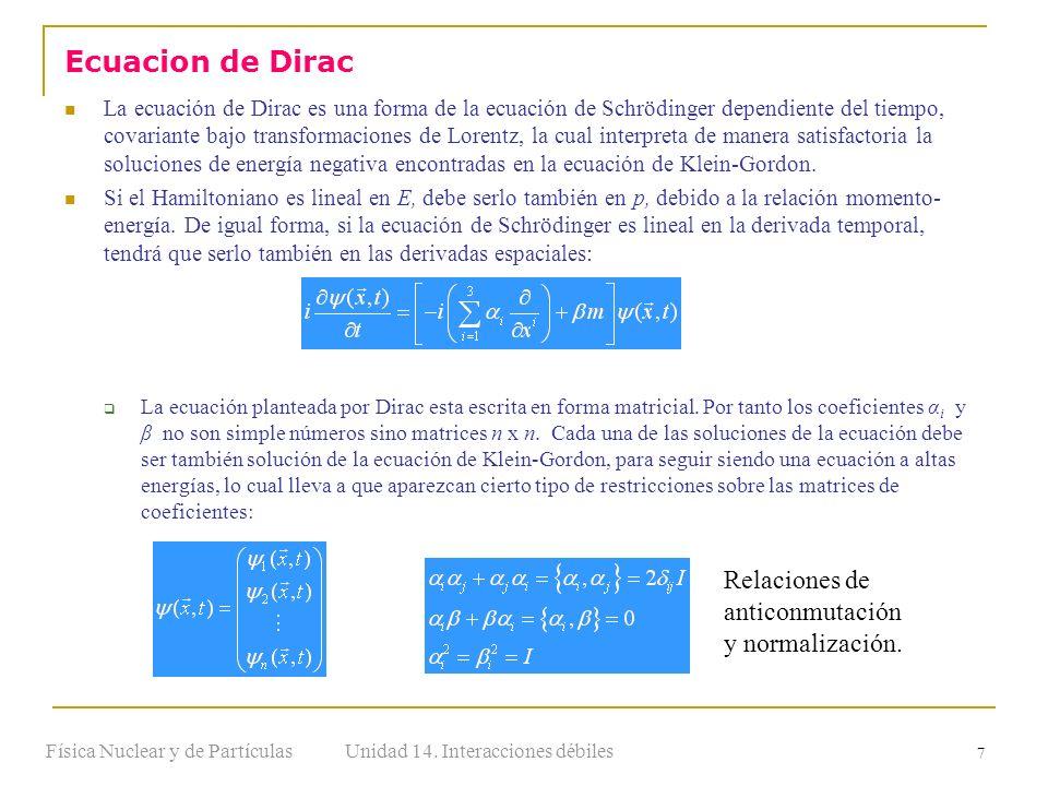 Unidad 14. Interacciones débilesFísica Nuclear y de Partículas 7 La ecuación de Dirac es una forma de la ecuación de Schrödinger dependiente del tiemp