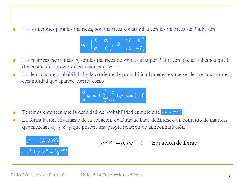 Unidad 14. Interacciones débilesFísica Nuclear y de Partículas 8 Las soluciones para las matrices, son matrices construidas con las matrices de Pauli,