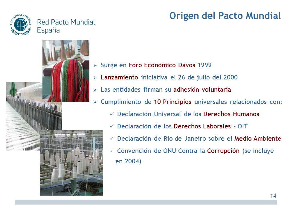 Surge en Foro Económico Davos 1999 Lanzamiento iniciativa el 26 de julio del 2000 Las entidades firman su adhesión voluntaria Cumplimiento de 10 Princ