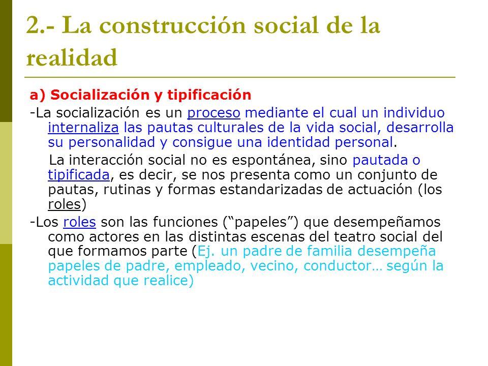 2.- La construcción social de la realidad a) Socialización y tipificación -La socialización es un proceso mediante el cual un individuo internaliza la