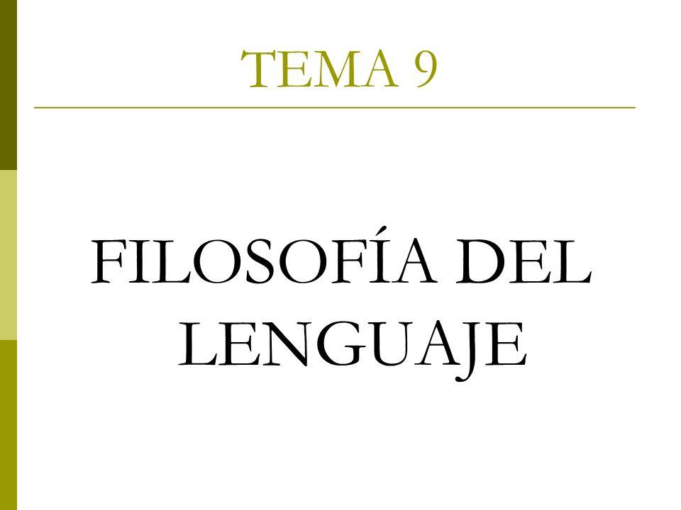 TEMA 9 FILOSOFÍA DEL LENGUAJE