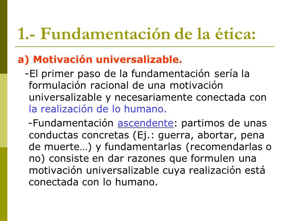 1.- Fundamentación de la ética: a) Motivación universalizable. -El primer paso de la fundamentación sería la formulación racional de una motivación un