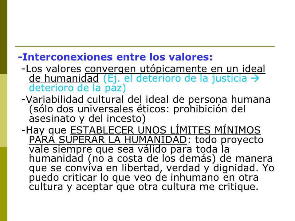 -Interconexiones entre los valores: -Los valores convergen utópicamente en un ideal de humanidad (Ej. el deterioro de la justicia deterioro de la paz)