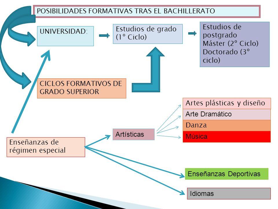 POSIBILIDADES FORMATIVAS TRAS EL BACHILLERATO UNIVERSIDAD: CICLOS FORMATIVOS DE GRADO SUPERIOR Enseñanzas de régimen especial Artes plásticas y diseño