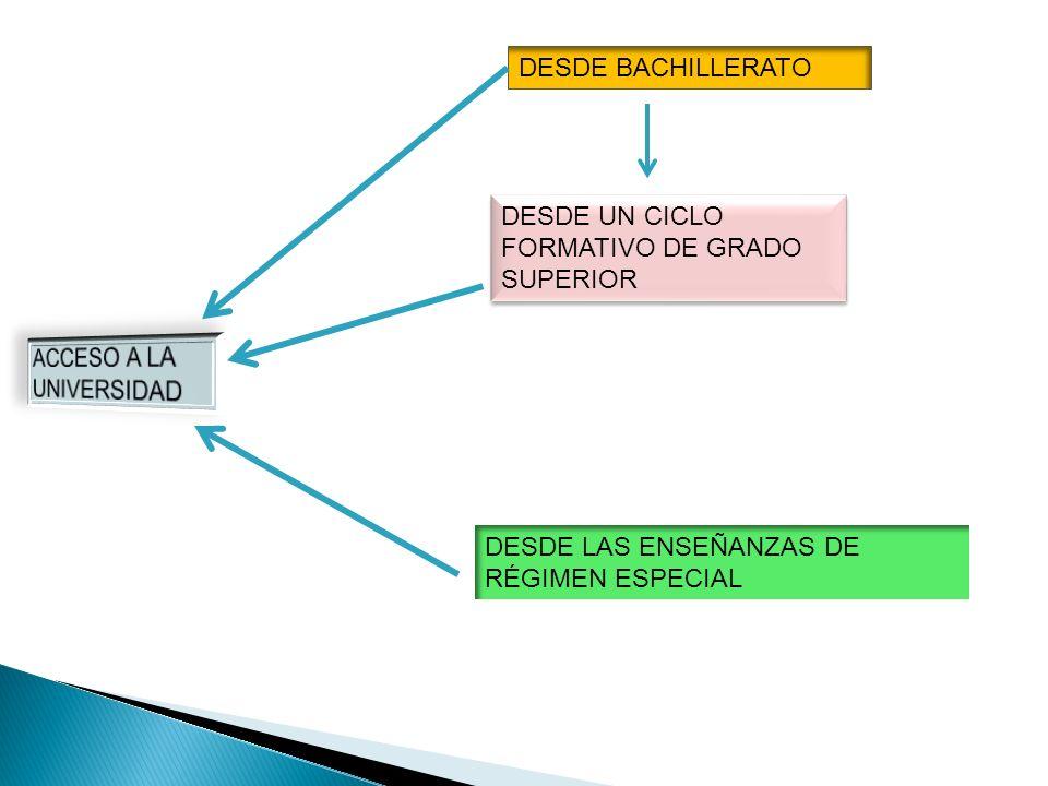 DESDE BACHILLERATO DESDE UN CICLO FORMATIVO DE GRADO SUPERIOR DESDE LAS ENSEÑANZAS DE RÉGIMEN ESPECIAL