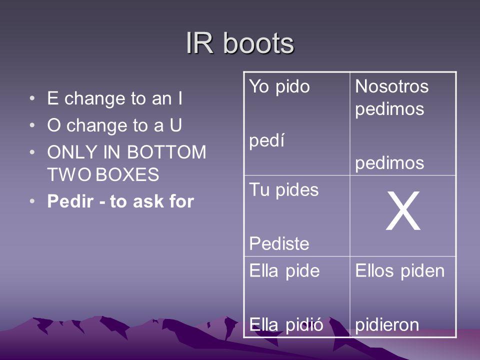 IR boots E change to an I O change to a U ONLY IN BOTTOM TWO BOXES Pedir - to ask for Yo pido pedí Nosotros pedimos pedimos Tu pides Pediste X Ella pide Ella pidió Ellos piden pidieron