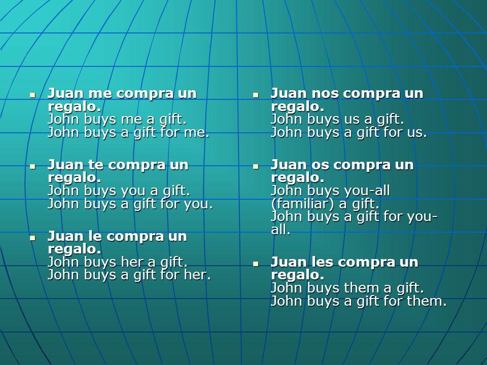 Juan me compra un regalo. John buys me a gift. John buys a gift for me. Juan me compra un regalo. John buys me a gift. John buys a gift for me. Juan t