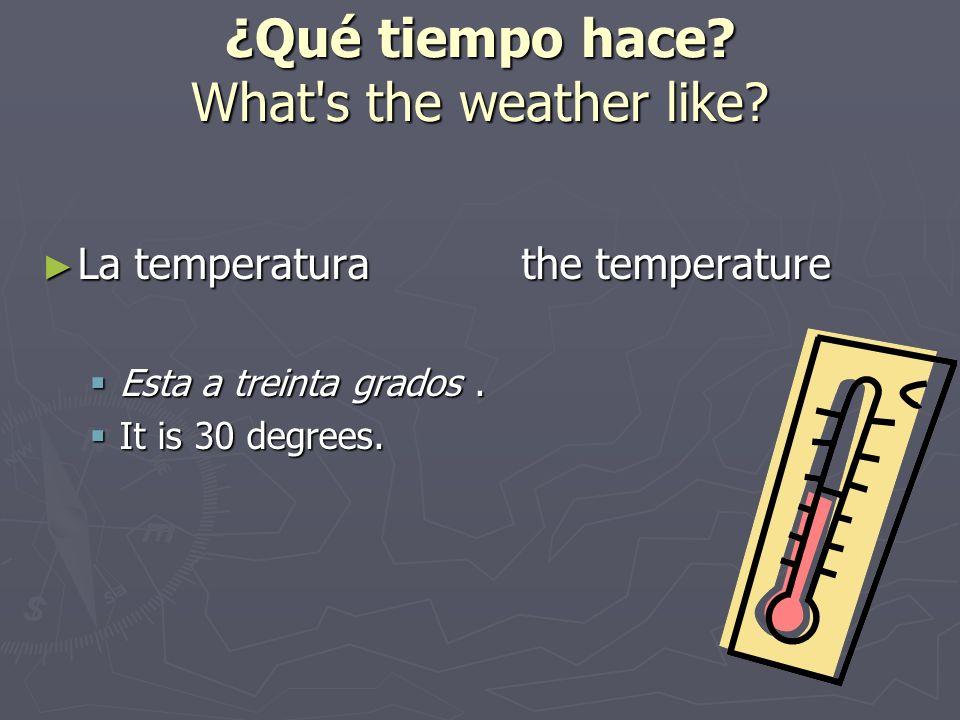 ¿Qué tiempo hace? What's the weather like? La temperaturathe temperature La temperaturathe temperature Esta a treinta grados. Esta a treinta grados. I
