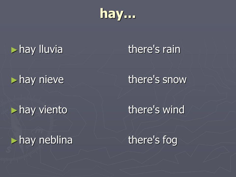 hay... hay lluviathere's rain hay lluviathere's rain hay nievethere's snow hay nievethere's snow hay vientothere's wind hay vientothere's wind hay neb
