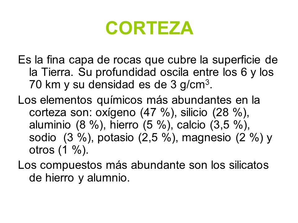 CORTEZA Es la fina capa de rocas que cubre la superficie de la Tierra. Su profundidad oscila entre los 6 y los 70 km y su densidad es de 3 g/cm 3. Los
