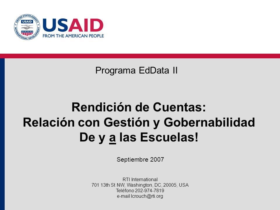 Rendición de Cuentas: Relación con Gestión y Gobernabilidad De y a las Escuelas.