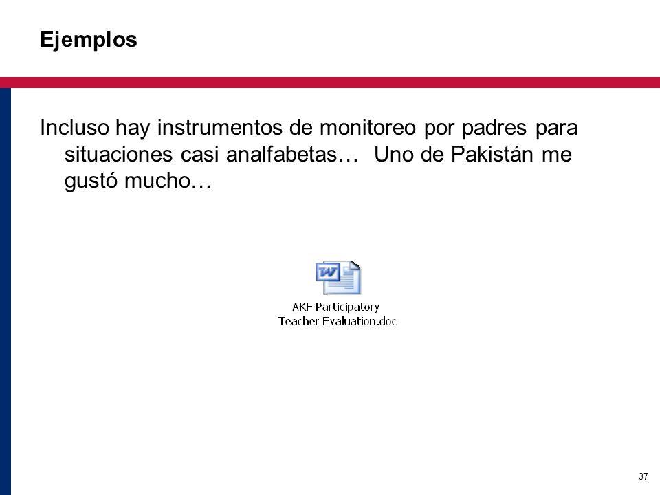 37 Ejemplos Incluso hay instrumentos de monitoreo por padres para situaciones casi analfabetas… Uno de Pakistán me gustó mucho…