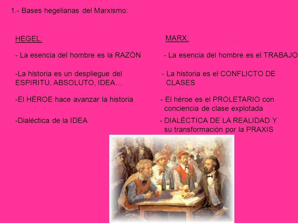 1.- Bases hegelianas del Marxismo: HEGEL: MARX: - La esencia del hombre es la RAZÓN - La esencia del hombre es el TRABAJO -La historia es un despliegu