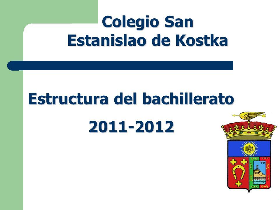 Estructura del bachillerato 2011-2012 Colegio San Estanislao de Kostka
