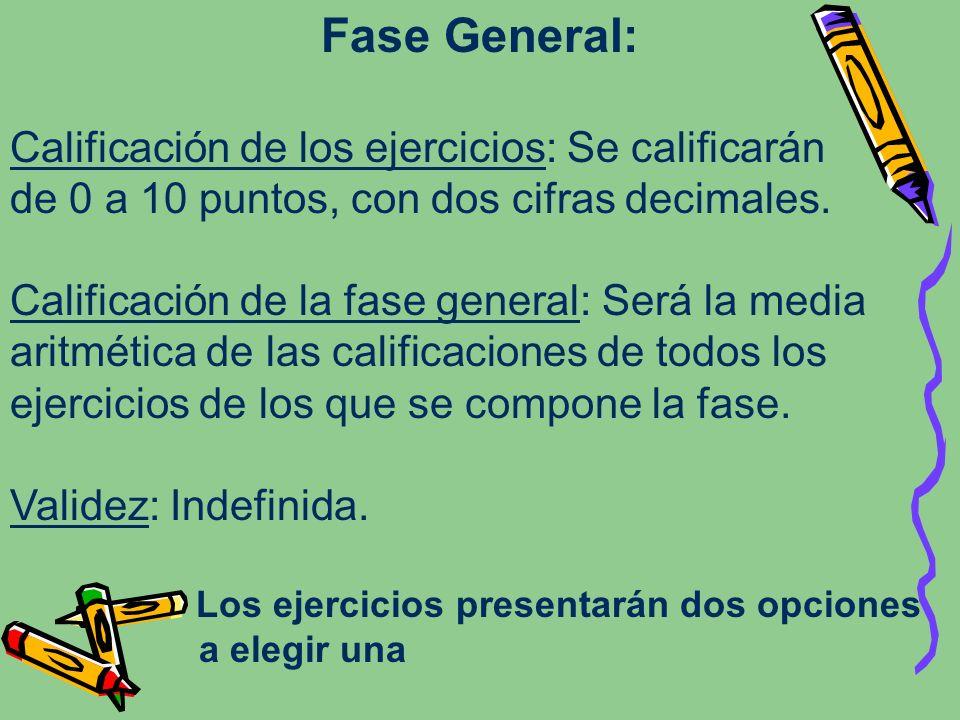 Fase General: Calificación de los ejercicios: Se calificarán de 0 a 10 puntos, con dos cifras decimales. Calificación de la fase general: Será la medi