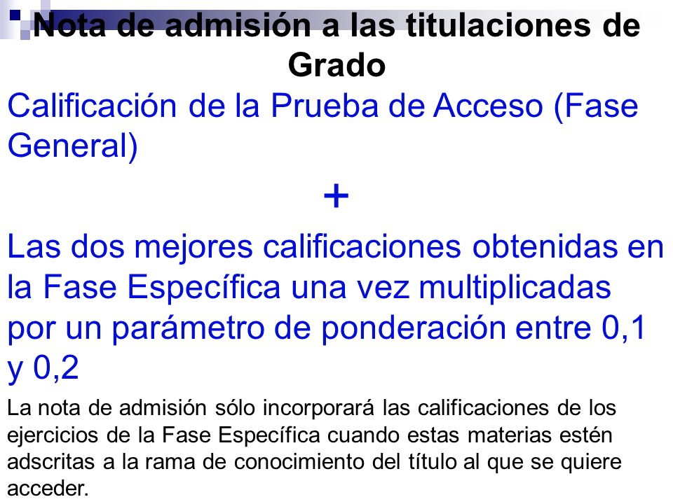 Nota de admisión a las titulaciones de Grado Calificación de la Prueba de Acceso (Fase General) + Las dos mejores calificaciones obtenidas en la Fase