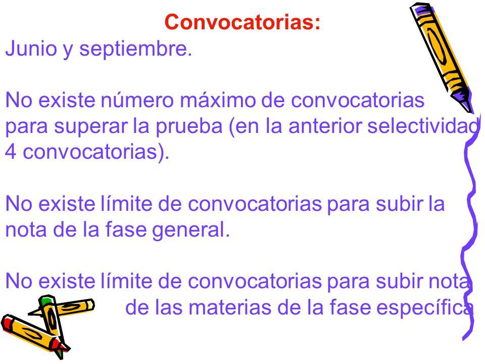 Convocatorias: Junio y septiembre. No existe número máximo de convocatorias para superar la prueba (en la anterior selectividad 4 convocatorias). No e