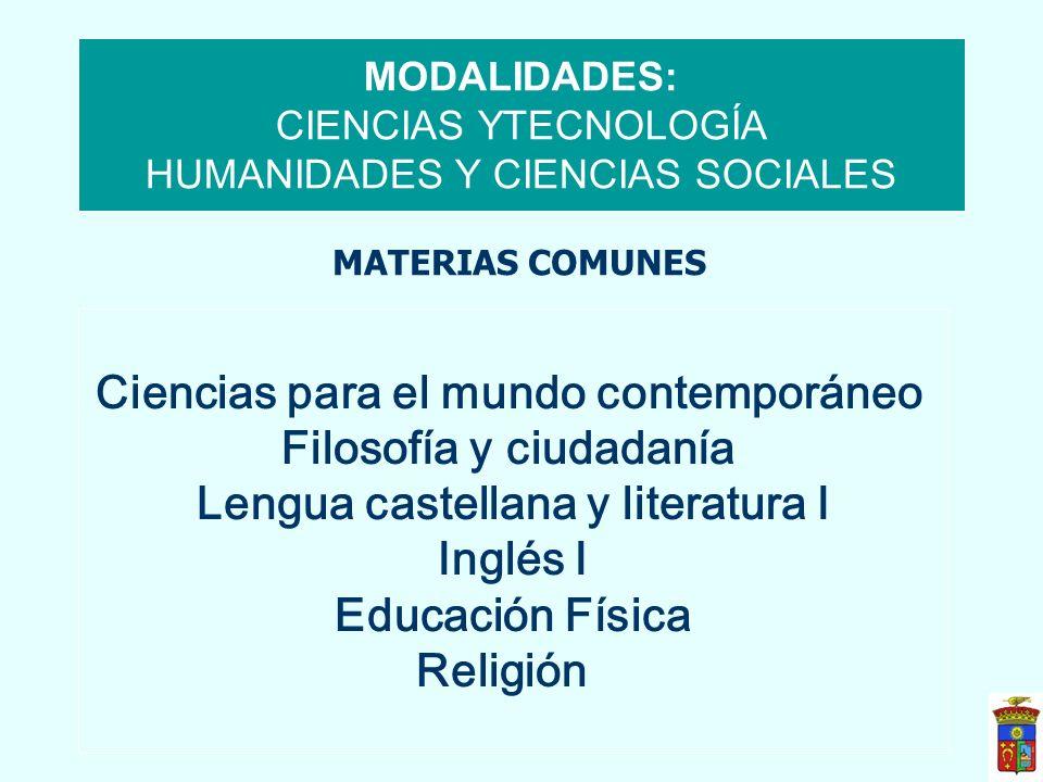 MODALIDADES: CIENCIAS YTECNOLOGÍA HUMANIDADES Y CIENCIAS SOCIALES Ciencias para el mundo contemporáneo Filosofía y ciudadanía Lengua castellana y lite