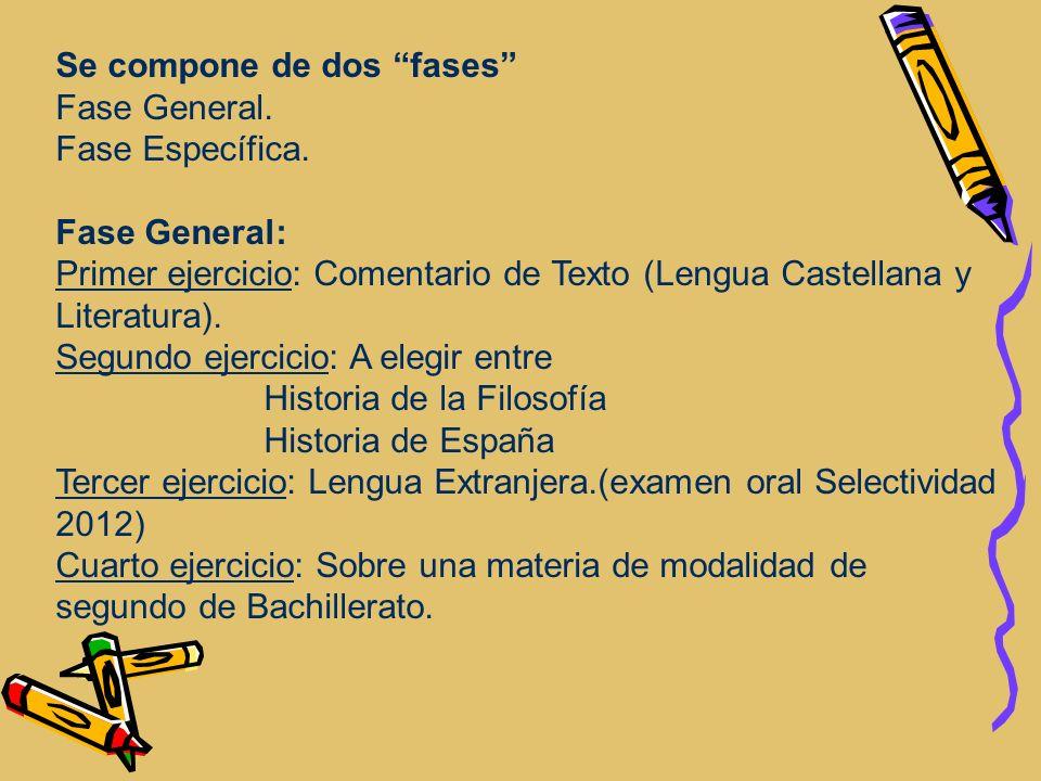 Se compone de dos fases Fase General. Fase Específica. Fase General: Primer ejercicio: Comentario de Texto (Lengua Castellana y Literatura). Segundo e