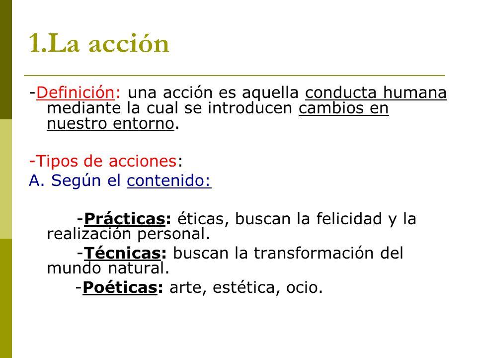 1.La acción -Definición: una acción es aquella conducta humana mediante la cual se introducen cambios en nuestro entorno. -Tipos de acciones: A. Según