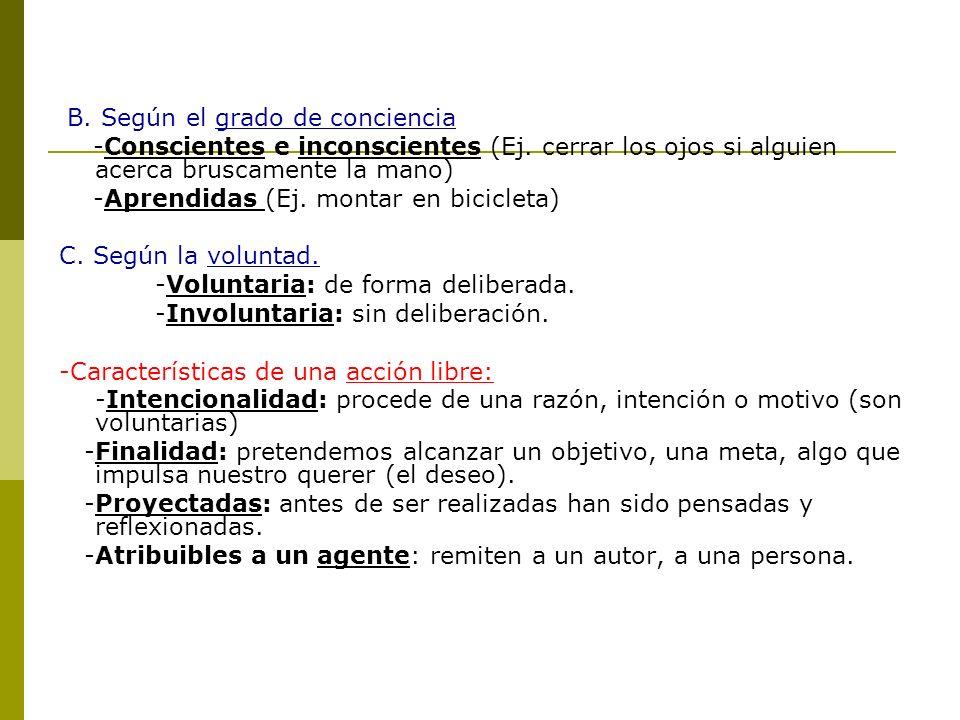 B. Según el grado de conciencia -Conscientes e inconscientes (Ej. cerrar los ojos si alguien acerca bruscamente la mano) -Aprendidas (Ej. montar en bi