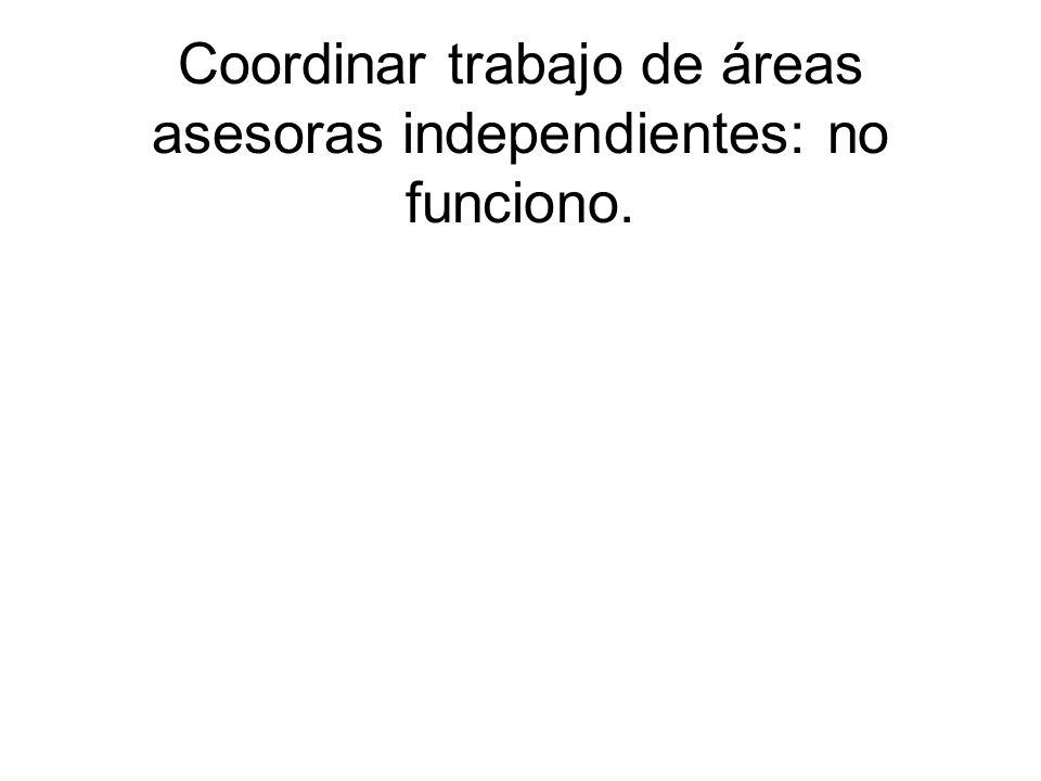 Coordinar trabajo de áreas asesoras independientes: no funciono.