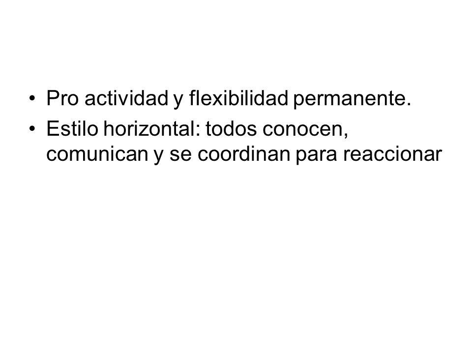 Pro actividad y flexibilidad permanente. Estilo horizontal: todos conocen, comunican y se coordinan para reaccionar