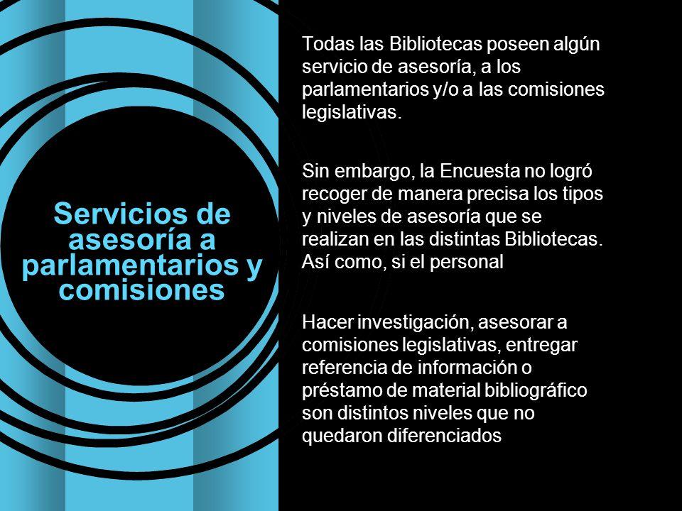 Servicios de asesoría a parlamentarios y comisiones Todas las Bibliotecas poseen algún servicio de asesoría, a los parlamentarios y/o a las comisiones legislativas.