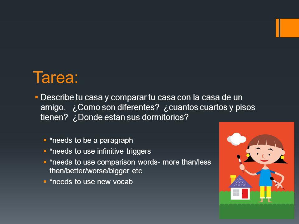 Tarea: Describe tu casa y comparar tu casa con la casa de un amigo.