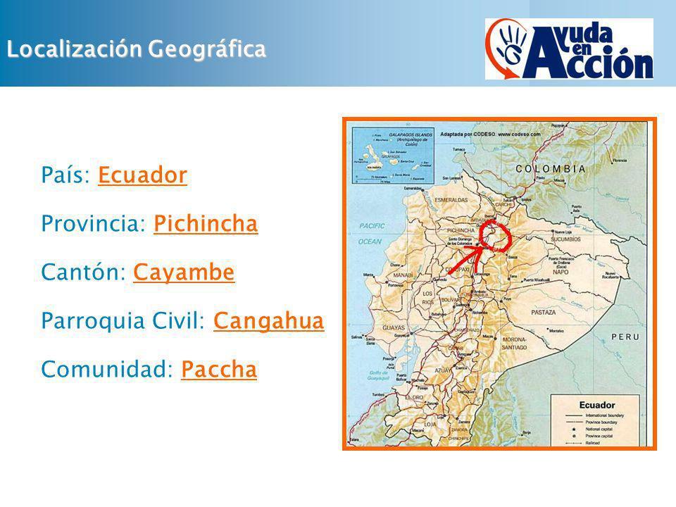 Localización Geográfica País: Ecuador Provincia: Pichincha Cantón: Cayambe Parroquia Civil: Cangahua Comunidad: Paccha