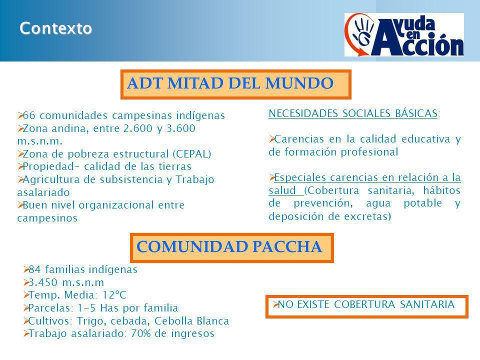 Contexto 66 comunidades campesinas indígenas Zona andina, entre 2.600 y 3.600 m.s.n.m. Zona de pobreza estructural (CEPAL) Propiedad- calidad de las t
