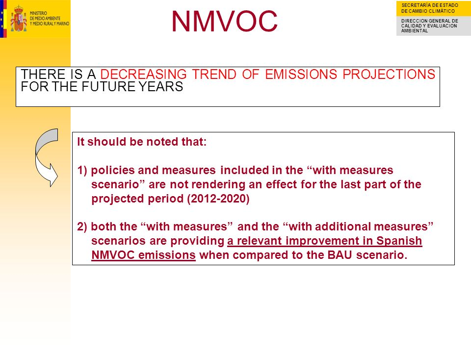 SECRETARÍA DE ESTADO DE CAMBIO CLIMÁTICO DIRECCION GENERAL DE CALIDAD Y EVALUACION AMBIENTAL NMVOC THERE IS A DECREASING TREND OF EMISSIONS PROJECTIONS FOR THE FUTURE YEARS It should be noted that: 1) policies and measures included in the with measures scenario are not rendering an effect for the last part of the projected period ( ) 2) both the with measures and the with additional measures scenarios are providing a relevant improvement in Spanish NMVOC emissions when compared to the BAU scenario.