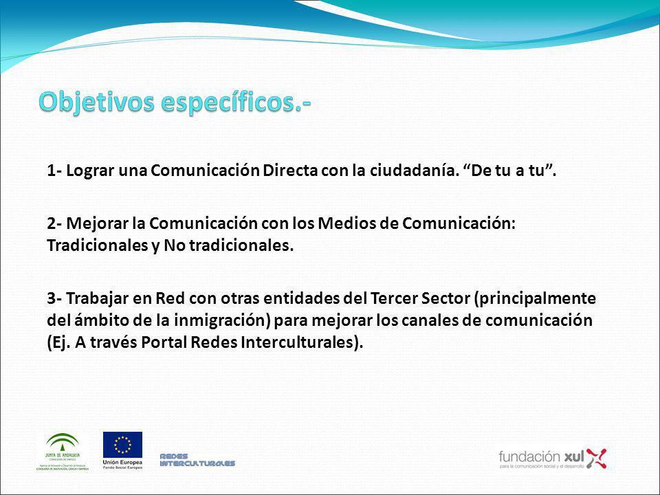 1- Lograr una Comunicación Directa con la ciudadanía. De tu a tu. 2- Mejorar la Comunicación con los Medios de Comunicación: Tradicionales y No tradic
