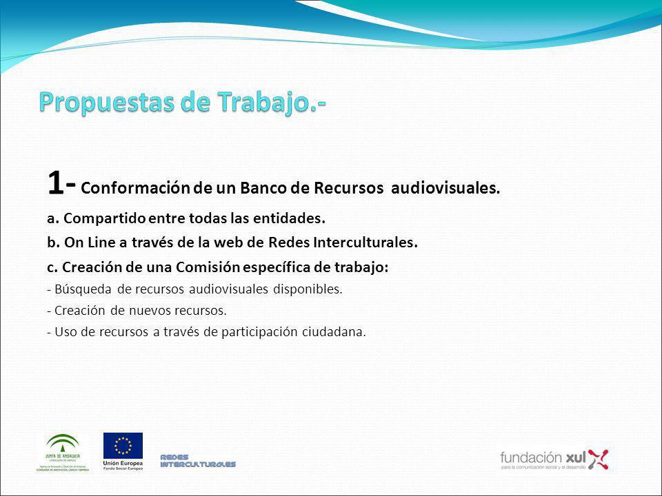 1- Conformación de un Banco de Recursos audiovisuales. a. Compartido entre todas las entidades. b. On Line a través de la web de Redes Interculturales