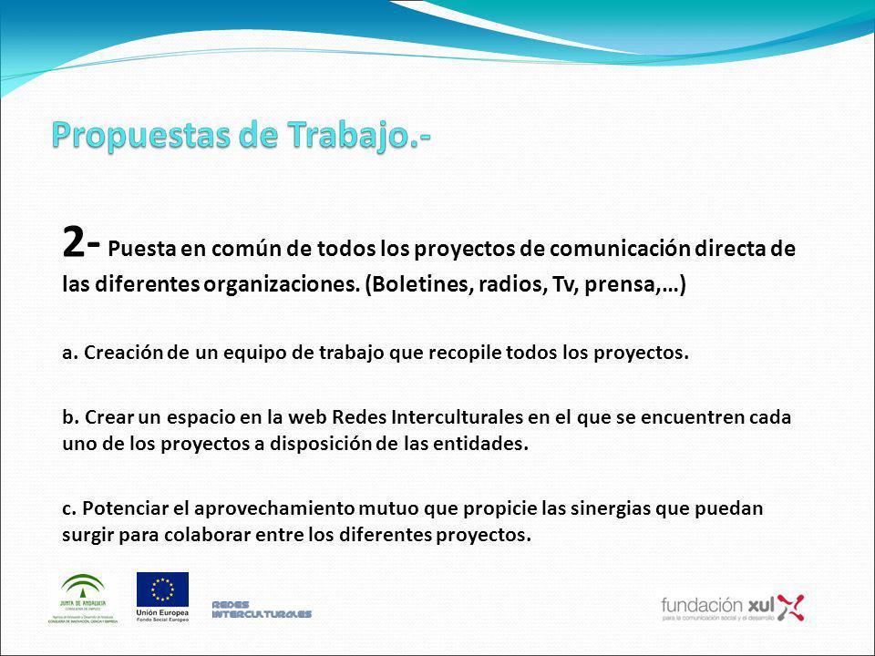 2- Puesta en común de todos los proyectos de comunicación directa de las diferentes organizaciones. (Boletines, radios, Tv, prensa,…) a. Creación de u