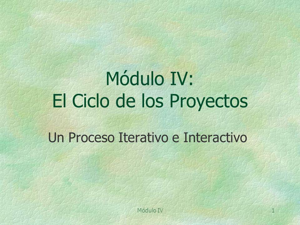 Módulo IV1 Módulo IV: El Ciclo de los Proyectos Un Proceso Iterativo e Interactivo