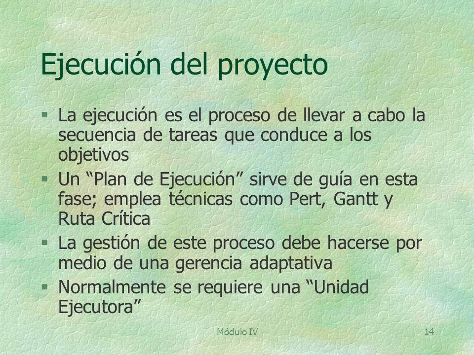 Módulo IV14 Ejecución del proyecto §La ejecución es el proceso de llevar a cabo la secuencia de tareas que conduce a los objetivos §Un Plan de Ejecuci