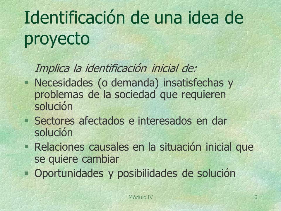 Módulo IV6 Identificación de una idea de proyecto Implica la identificación inicial de: §Necesidades (o demanda) insatisfechas y problemas de la socie