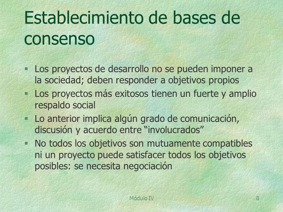 Módulo IV8 Establecimiento de bases de consenso §Los proyectos de desarrollo no se pueden imponer a la sociedad; deben responder a objetivos propios §