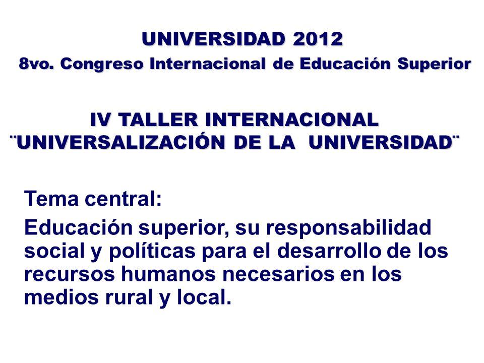 IV TALLER INTERNACIONAL ¨UNIVERSALIZACIÓN DE LA UNIVERSIDAD¨ UNIVERSIDAD 2012 8vo. Congreso Internacional de Educación Superior 8vo. Congreso Internac