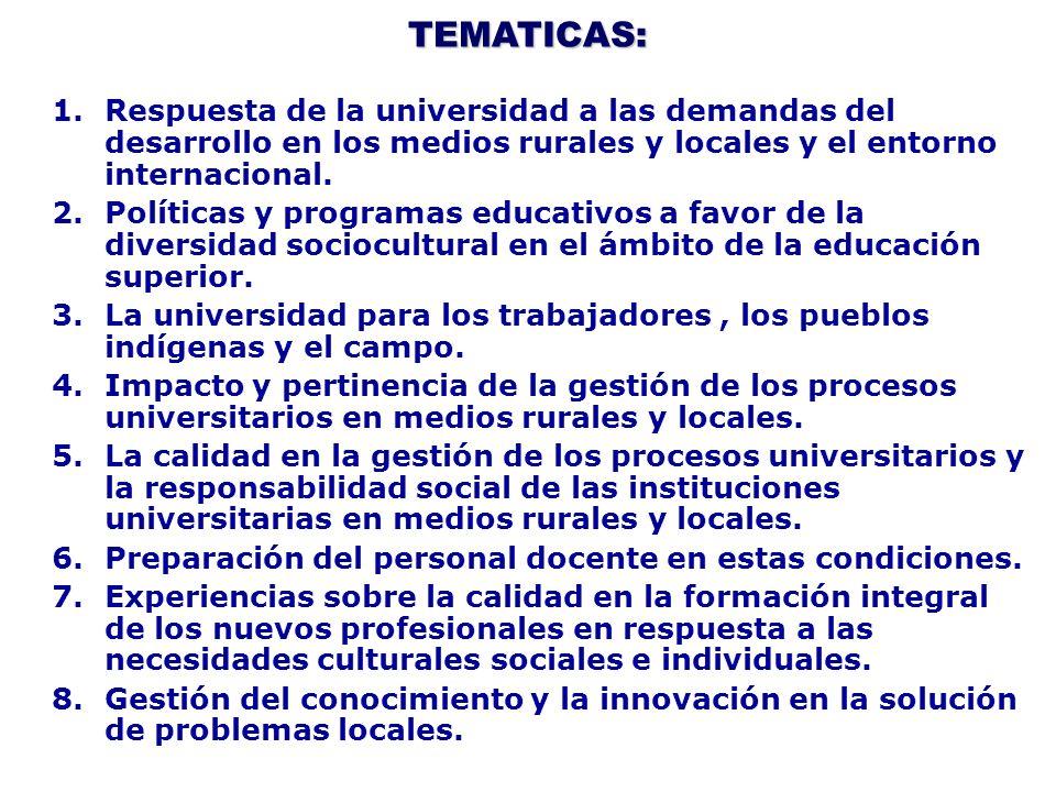 TEMATICAS: 1.Respuesta de la universidad a las demandas del desarrollo en los medios rurales y locales y el entorno internacional. 2.Políticas y progr