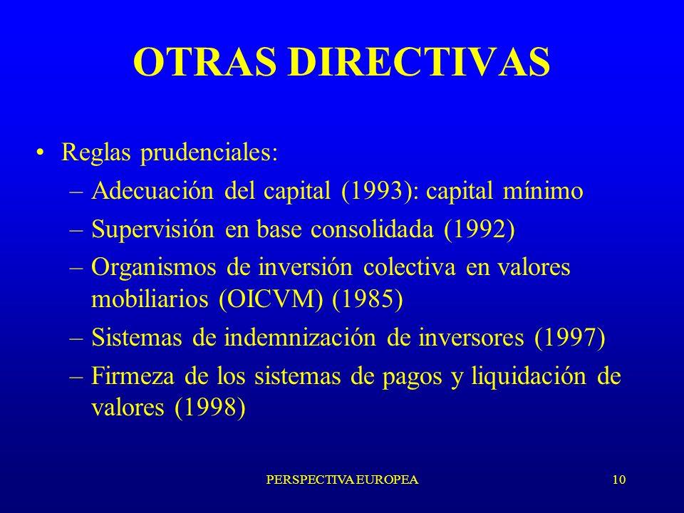 PERSPECTIVA EUROPEA10 OTRAS DIRECTIVAS Reglas prudenciales: –Adecuación del capital (1993): capital mínimo –Supervisión en base consolidada (1992) –Organismos de inversión colectiva en valores mobiliarios (OICVM) (1985) –Sistemas de indemnización de inversores (1997) –Firmeza de los sistemas de pagos y liquidación de valores (1998)