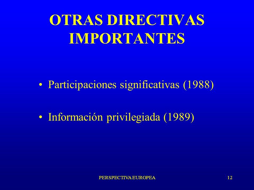 PERSPECTIVA EUROPEA12 OTRAS DIRECTIVAS IMPORTANTES Participaciones significativas (1988) Información privilegiada (1989)