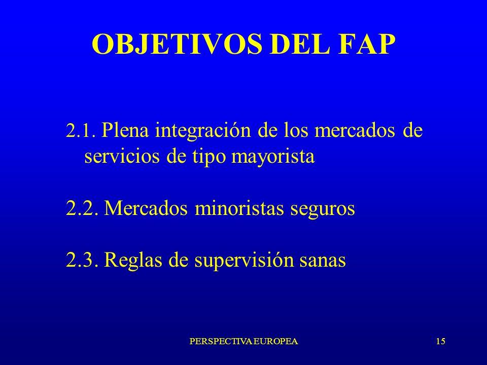 PERSPECTIVA EUROPEA15 OBJETIVOS DEL FAP 2.1.