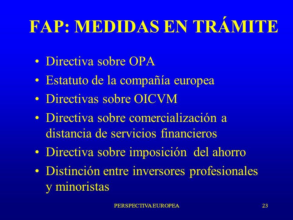 PERSPECTIVA EUROPEA23 FAP: MEDIDAS EN TRÁMITE Directiva sobre OPA Estatuto de la compañía europea Directivas sobre OICVM Directiva sobre comercialización a distancia de servicios financieros Directiva sobre imposición del ahorro Distinción entre inversores profesionales y minoristas