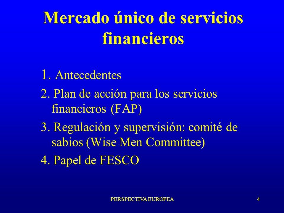 4 Mercado único de servicios financieros 1. Antecedentes 2.