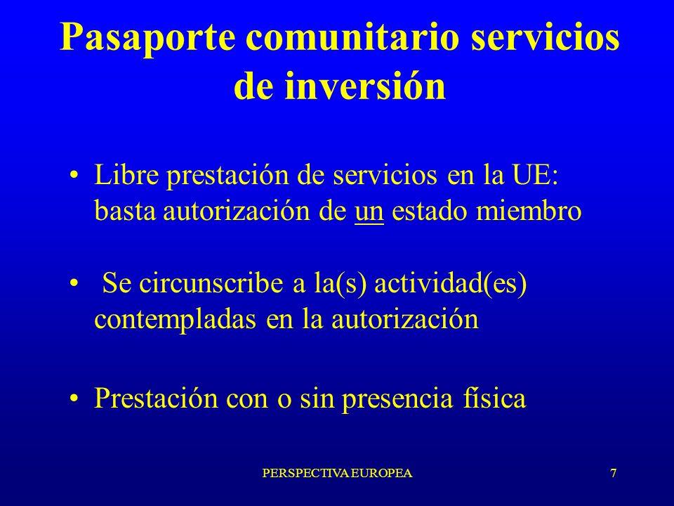 PERSPECTIVA EUROPEA7 Pasaporte comunitario servicios de inversión Libre prestación de servicios en la UE: basta autorización de un estado miembro Se circunscribe a la(s) actividad(es) contempladas en la autorización Prestación con o sin presencia física