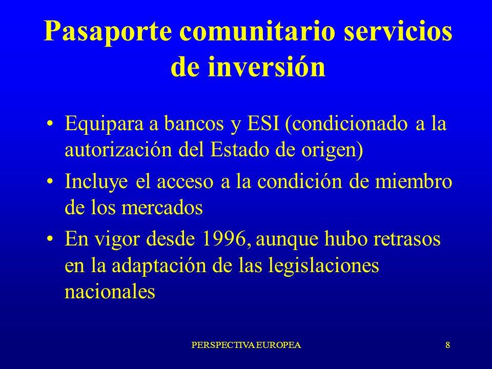 PERSPECTIVA EUROPEA8 Pasaporte comunitario servicios de inversión Equipara a bancos y ESI (condicionado a la autorización del Estado de origen) Incluye el acceso a la condición de miembro de los mercados En vigor desde 1996, aunque hubo retrasos en la adaptación de las legislaciones nacionales