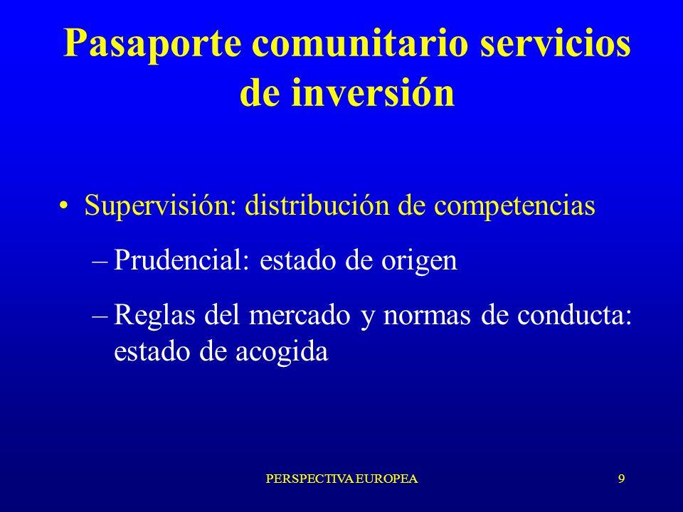 PERSPECTIVA EUROPEA9 Pasaporte comunitario servicios de inversión Supervisión: distribución de competencias –Prudencial: estado de origen –Reglas del mercado y normas de conducta: estado de acogida